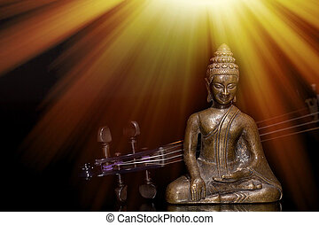 Spiritual, sacred or new age music. Buddha and violin under sun rays representing enlightenment.
