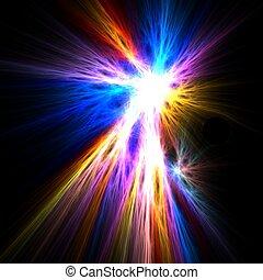 Fractal rendering of colorful flash light