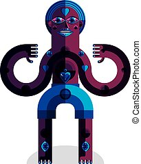 Spiritual totem vector illustration, meditation theme...