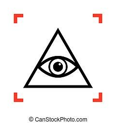 spiritual., vedere, tutto, piramide, simbolo., nero, freemason, ic, occhio