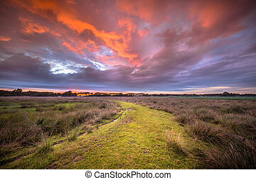 Spiritual voyage concept path through Wild natural landscape under amazing sky