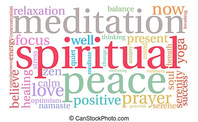 Spiritual Word Cloud - Spiritual word cloud on a white...