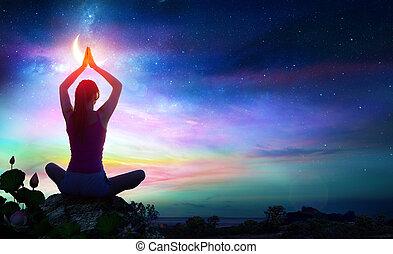 spirituale, donna, yoga, pendenza, -, loto, colori, chakra,...