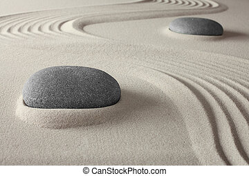 spirituale, terme, roccia, sabbia, giardino zen