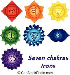 spirituale, yoga, colorito, kundalini, icone, sette, chakras, simboli, tattoos.