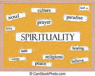 spiritualiteit, concept, corkboard, woord