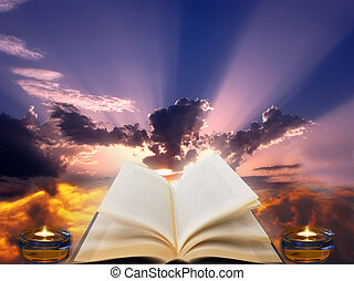 A conceptual image that represents spirituality, with a holy book and two candles with rays of sun