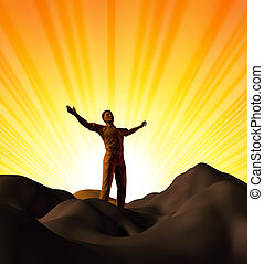 Spirituality and worship symbol represnted by a man on top of a mountain with a sunset glowing background showing the concept of inspiration and religion.