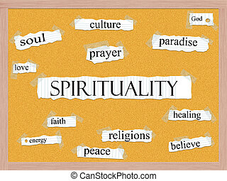 Spirituality Corkboard Word Concept with great terms such as...
