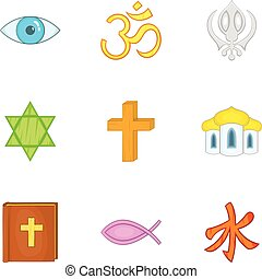 Spirituality icons set, cartoon style - Spirituality icons...