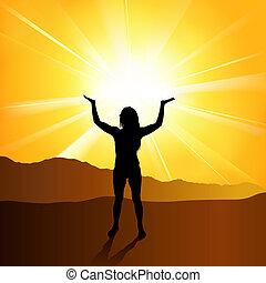 Spirituality - Woman and Worship, Background Illustration