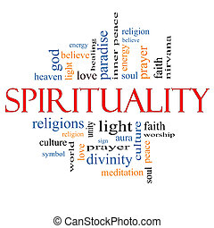 Spirituality Word Cloud Concept with great terms such as religion, light, prayer, soul and more.