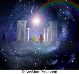 spiritualy, basato, composizione, tempio