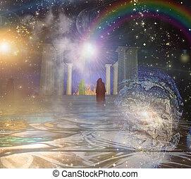 spiritualy, baseado, composição, templo