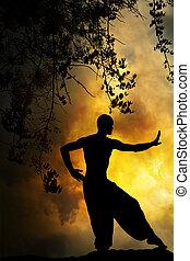 spirituel, arts, coucher soleil, martial