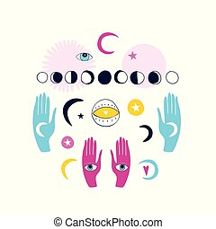 spirituel, ensemble, mystique, mains, ésotérique, magique, isolé, éléments, fond, griffonnage, blanc