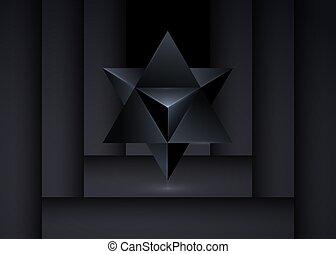 spirituel, forme., wicca, triangle, isolé, noir, icon., merkaba, tétraèdre, ligne, étoile, esprit, symbole., ésotérique, arrière-plan., ou, géométrique, sacré, 3d, geometry., divination, corps, mince, lumière