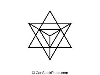 spirituel, geometry., merkaba, isolé, triangle, divination, forme., arrière-plan., sacré, géométrique, blanc, étoile, wicca, ésotérique, symbole., ligne, esprit, corps, lumière, tétraèdre, mince, icon., ou