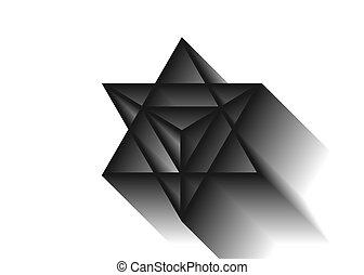 spirituel, geometry., merkaba, isolé, triangle, ombre, divination, forme., arrière-plan., sacré, géométrique, blanc, 3d, étoile, wicca, ésotérique, symbole., ligne, esprit, corps, lumière, tétraèdre, mince, icon., ou
