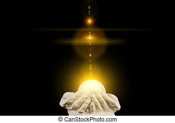 spirituel, guérison, lumière, dans, mains