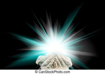 spirituel, lumière, dans, mains mises coupe