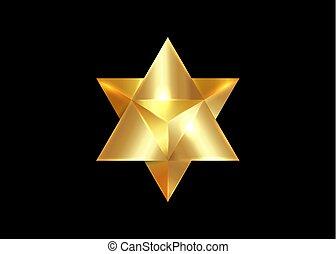 spirituel, or, geometry., merkaba, forme., triangle, divination, isolé, arrière-plan., noir, sacré, géométrique, 3d, étoile, wicca, ésotérique, symbole., ligne, esprit, corps, lumière, tétraèdre, mince, icon., ou