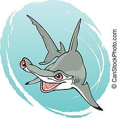 Spirna mokorran - Crazy hammerhead shark, vector...
