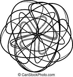 spirograph, αφαιρώ , στοιχείο , μαύρο , σχεδιάζω , άσπρο