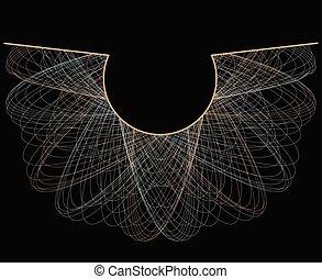 spirographic, abstract, -, neckline, ontwerp