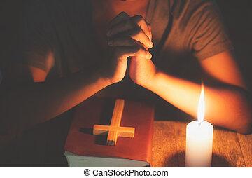spirtuality, santo, conceptos, religión, manos, biblia,...