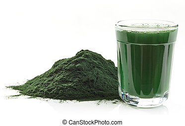 Spirulina algae powder - Stack of spirulina algae powder and...