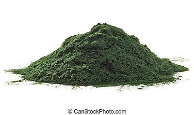 Spirulina algae powder - Stack of spirulina algae powder...