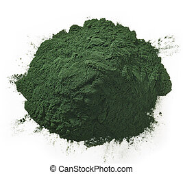 Spirulina algae powder - Stack of spirulina algae powder...