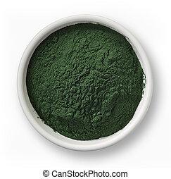 Spirulina algae powder - White bowl of spirulina algae...