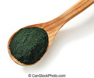 Spirulina algae powder - Wooden spoon of spirulina algae...