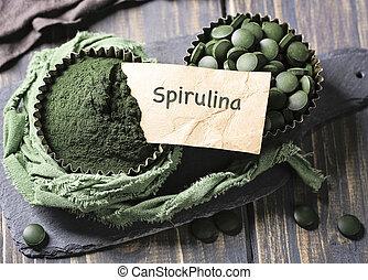 Spirulina tablets and powder