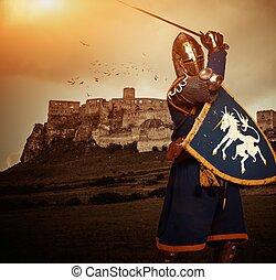 spis, średniowieczny, rycerz, przeciw, slovakia, zamek
