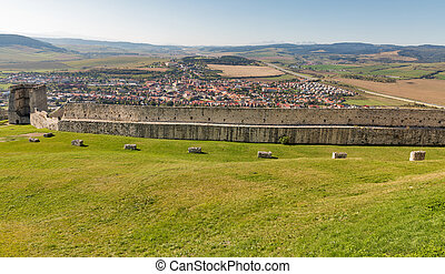 Spis Castle courtyard with view over city in Slovakia....