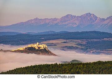 spis, tatras, landschap, hoog, slowakije, kasteel, aanzicht