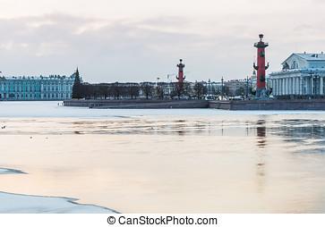Spit of Vasilievsky Island in winter in Saint Petersburg at dawn
