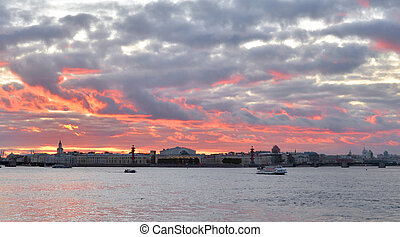 Spit of Vasilyevsky Island at sunset. - Spit of Vasilyevsky ...