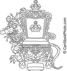 Malicious and pitiless character with a shabby tail, wearing a crown and a chain, grinning from behind a royal throne, black and white outline vector cartoon illustration for a coloring book page