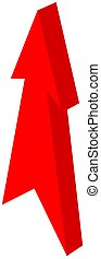 spits, -, illustratie, richtingwijzer, rood, 3d
