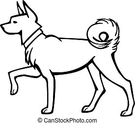 Spitz Dog - vector line drawing of a spitz type dog with a ...
