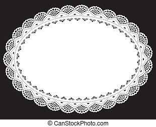 spitze, doily, placemat, weißes