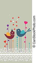 spitze, flowers., vögel