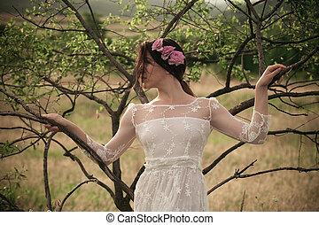 spitzenartig, weißes, frau, kleiden