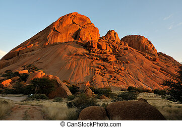 Spitzkoppe in Namibia at sunset
