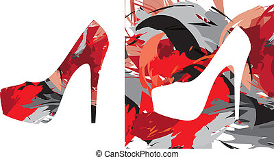 spla, colorare, scarpe, alto-high-heeled