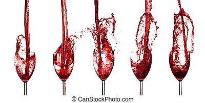 spla, szemüveg, piros, gyűjtés, bor